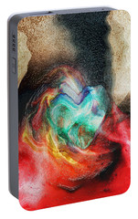 Portable Battery Charger featuring the digital art Heart Deep by Linda Sannuti