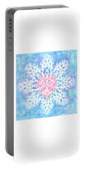Heart In Snowflake Portable Battery Charger