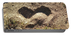 Heart In The Sand Portable Battery Charger by Deborah Moen