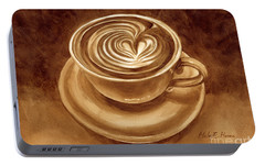 Portable Battery Charger featuring the painting Heart Latte by Hailey E Herrera
