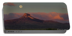 Heart Mountain And Full Moon-signed-#0273  #0273 Portable Battery Charger by J L Woody Wooden