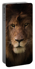 Portable Battery Charger featuring the painting Heart Of A Lion - Wildlife Art by Jordan Blackstone