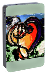 Portable Battery Charger featuring the painting Heart Robin Treble by Genevieve Esson