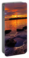 Heart Shaped Pool At Sunset Over Lake Worth Lagoon On Singer Island Florida Portable Battery Charger
