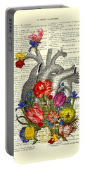 Heart With Colorful Flowers Portable Battery Charger
