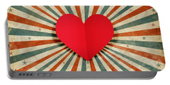 Heart With Ray Background Portable Battery Charger