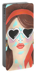 Heartbreaker - Contemporary Woman Art Portable Battery Charger