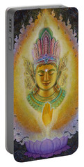 Portable Battery Charger featuring the painting Heart's Fire Buddha by Sue Halstenberg