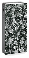 Hearts, Spades, Diamonds And Clubs In Black Portable Battery Charger