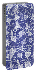Portable Battery Charger featuring the drawing Hearts, Spades, Diamonds And Clubs In Blue by Lise Winne