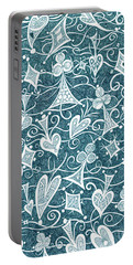 Portable Battery Charger featuring the drawing Hearts, Spades, Diamonds And Clubs In Green by Lise Winne