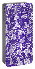 Portable Battery Charger featuring the drawing Hearts, Spades, Diamonds And Clubs In Purple by Lise Winne