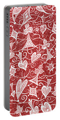 Portable Battery Charger featuring the drawing Hearts, Spades, Diamonds And Clubs In Red by Lise Winne