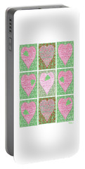 Portable Battery Charger featuring the digital art Hearts Within Hearts In Green And Pink by Lise Winne