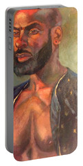 Portable Battery Charger featuring the painting Heat Merchant by JaeMe Bereal