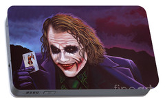Heath Ledger As The Joker Painting Portable Battery Charger by Paul Meijering