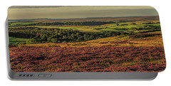 Heather On The Moors Portable Battery Charger by David  Hollingworth