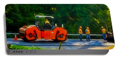 Heavy Tandem Vibration Roller Compactor At Asphalt Pavement Works For Road Repairing 2 Portable Battery Charger