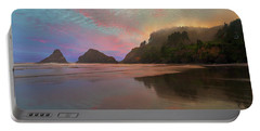 Heceta Head Lighthouse Foggy Sunset Portable Battery Charger