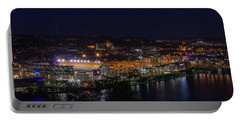 Heinz Field At Night From Mt Washington Portable Battery Charger