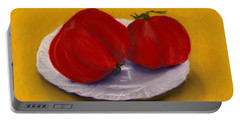 Portable Battery Charger featuring the drawing Heirloom Tomatoes by Anastasiya Malakhova