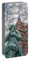 Portable Battery Charger featuring the photograph Helsingor Train Station Statue by Antony McAulay