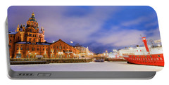 Portable Battery Charger featuring the photograph Helsinki By Night by Delphimages Photo Creations