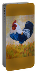 Portable Battery Charger featuring the painting Henhouse Boss by Nancy Jolley