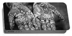 Henna Hands Black And White Portable Battery Charger
