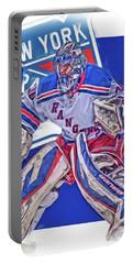 Henrik Lundqvist New York Rangers Oil Art Portable Battery Charger