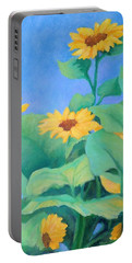Her Sunflower Garden Original Oil Painting Of Sunflowers Portable Battery Charger
