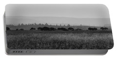 Herd Of Bison Grazing Panorama Bw Portable Battery Charger