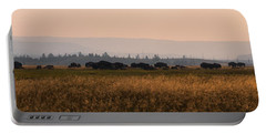 Herd Of Bison Grazing Panorama Portable Battery Charger