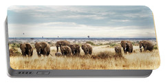 Herd Of Elephant In Kenya Africa Portable Battery Charger