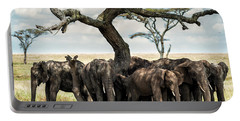 Herd Of Elephants Under A Tree In Serengeti Portable Battery Charger