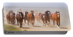 Herd Of Horses During The Great American Horse Drive On A Dusty Road Portable Battery Charger
