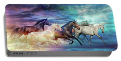 Herd Of Horses In Pastel Portable Battery Charger