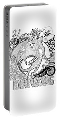 Portable Battery Charger featuring the drawing Here Be Dragons by Wendy Coulson