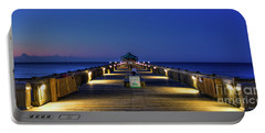 Portable Battery Charger featuring the photograph Here It Comes Now Folly Beach Pier Sunrise Art by Reid Callaway