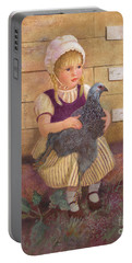 Portable Battery Charger featuring the painting Heritage Hen Brahma Chicken by Nancy Lee Moran
