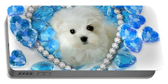 Hermes The Maltese And Blue Hearts Portable Battery Charger
