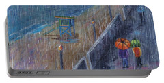 Portable Battery Charger featuring the painting Hermosa Beach Rain by Jamie Frier