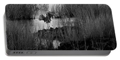 Heron And Grass In B/w Portable Battery Charger