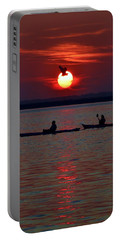 Heron And Kayakers Sunset Portable Battery Charger