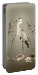 Heron And Lotus Flowers Portable Battery Charger