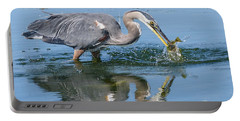 Great Blue Heron Catches A Fish Portable Battery Charger