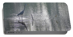 Portable Battery Charger featuring the photograph Heron In Pastel Waters by Skip Willits