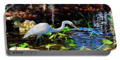 Heron In Quiet Pool Portable Battery Charger by David  Van Hulst