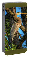 Heron In The Pine Tree Portable Battery Charger by Dorothy Cunningham