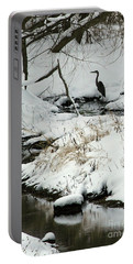 Heron In Winter Portable Battery Charger